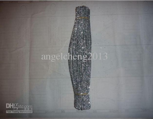 Tige de fil à éclair argentée de 6mm * 30cm, tiges de barre de rong rong et cure-pipes 500pcs / lot