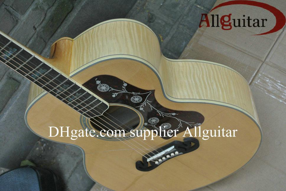 Custom Shop J200 Natural Acoustic Guitar Solid Spruce Top Tiger Maple Neck Body Side mic Pickups China Made Sign Acoustic Electric Guitar