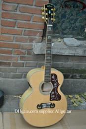 venda por atacado Custom Shop J200 guitarra Natural Acústico sólido Spruce Top Tiger bordo Neck Side corpo mic Pickups China Feito Sinal acústico guitarra elétrica