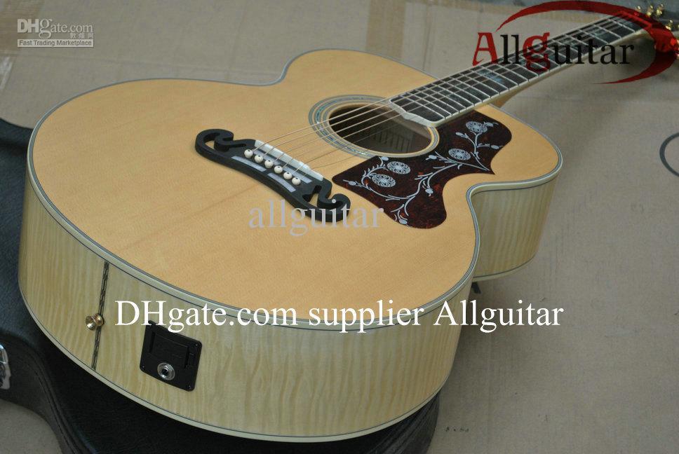 커스텀 샵 J200 자연 어쿠스틱 기타 솔리드 스프루스 탑 타이거 메이플 넥 바디 사이드 마이크 픽업 중국 만든 어쿠스틱 일렉트릭 기타를 가입
