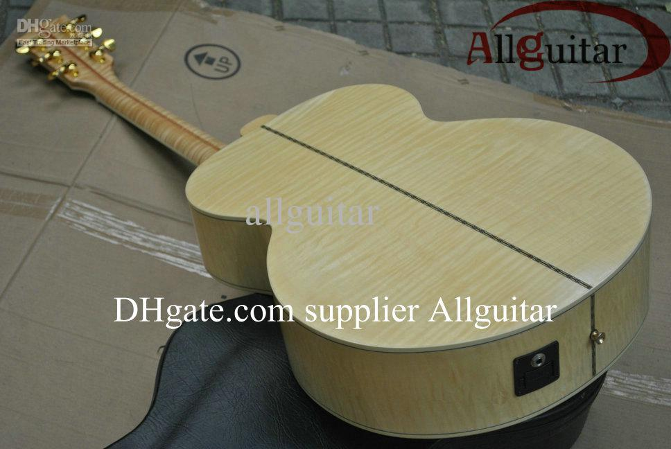Custom Shop J200 guitarra Natural Acústico sólido Spruce Top Tiger bordo Neck Side corpo mic Pickups China Feito Sinal acústico guitarra elétrica