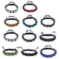 Wholesale Hematite Wrap - Disco Crystal balls Hematite braid bracelet crystal beads 7pcs wrap charm bracelet free express