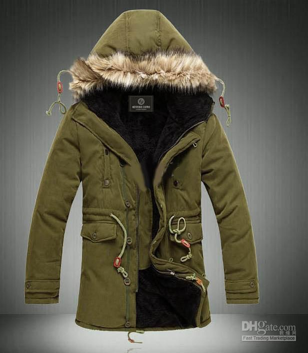 Army Green Men's Jacket Coats Hooded Faux Fur Collar Coat ...