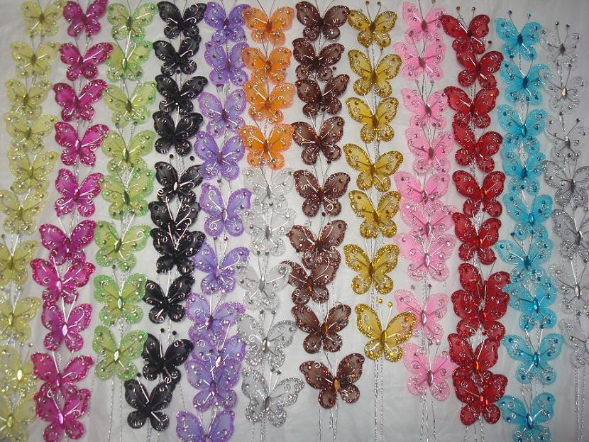 50pcs Glitter Nylon Mesh Diamante Butterfly Picks With Wire Stem Wedding  Decorations! Craft And Card