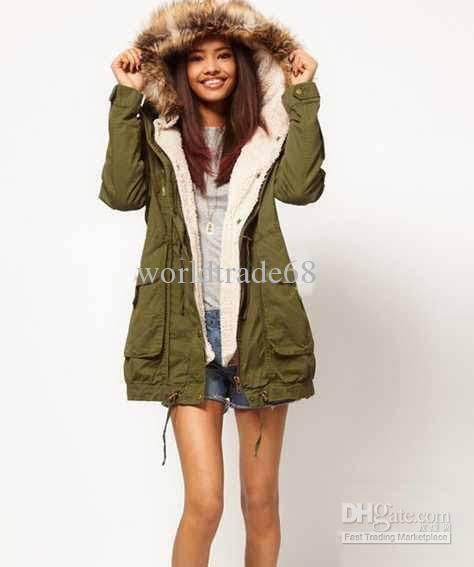New Fashion Korean Women Ladies Sherpa Liner Green Hooded Coat ...