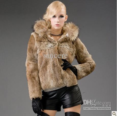 2018 Natural Wild Rabbit Hair Fur Coat Big Raccoon Hat Fur Coat ...