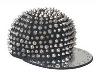 Wholesale Caps Studs - Black Cap Silver Rivet Men Women Kid Spike Studs Rivet Cap Hat Punk Rock Hiphop 8 types For You Pick