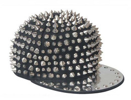 Wholesale Hats Studs - Black Cap Silver Rivet Men Women Kid Spike Studs Rivet Cap Hat Punk Rock Hiphop 8 types For You Pick