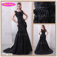 Wholesale Taffeta Square - Classical black style Square Evening Dresses Mermaid with Pleated 3D Handmade Flower prom dress HX66 dhyz 01