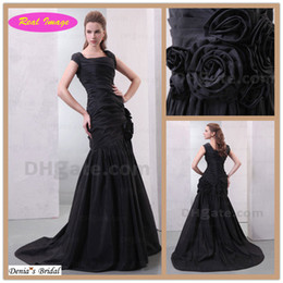 Wholesale taffeta mermaid prom dresses - Classical black style Square Evening Dresses Mermaid with Pleated 3D Handmade Flower prom dress HX66 dhyz 01