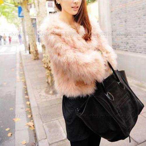 Pink Women Faux Ostrich Feather Fur Coat Jacket Tops Long Sleeve ...