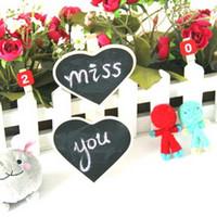 Wholesale Small Bookmark Clips - MINI Small Blackboard Wood Clip Bookmark Message Board Clamps Love Modeling