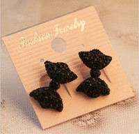 Wholesale Stud Bow Tie - Wholesale- Fashion Black Lovely Rhinestone Crystal Bowknot Bow Tie Earrings Earring GJ1