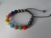 steinlehm großhandel-Armbänder Bling Stone Pave Clay Ball Shambala Armbänder mit Hämatit Perlen Stretch Armbänder