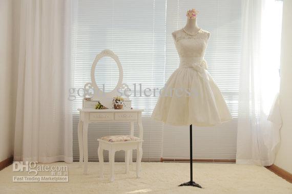 Discount A Line Vintage Wedding Dresses Bateau Sexy Little