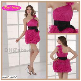 Wholesale Cut Mini Hot - Hot Pink Exquisite One Shoulder Party Dresses Cocktail Dress Cut Organza with Black Sash Mini HX82 dhyz 01
