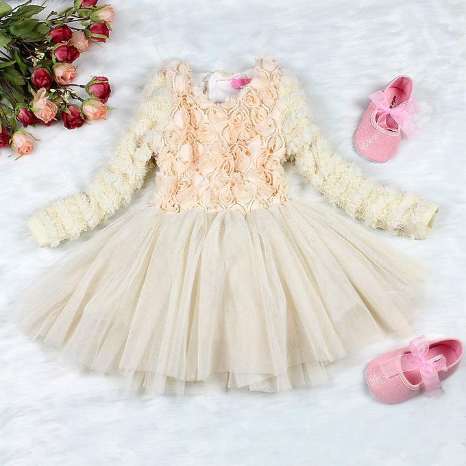 2018 2013 christmas baby dresses party beige flower beautiful girl dress new year kids pettiskirt clothes from cnbabywholeseller 10438 dhgatecom
