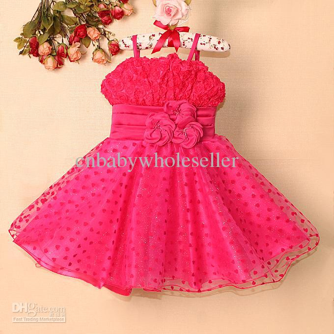 Online Cheap 2015 Baby Girls Party Dress Hot Pink Flower With ...