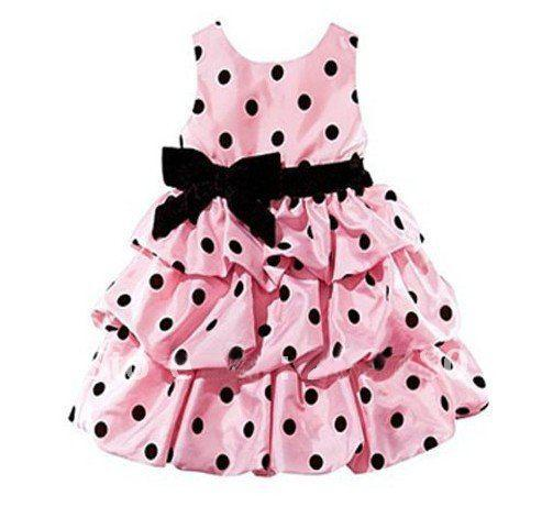 a09a42fbf 2019 Pink Black Dot Girl Dress Baby Girls Party Dress Pink Dress ...
