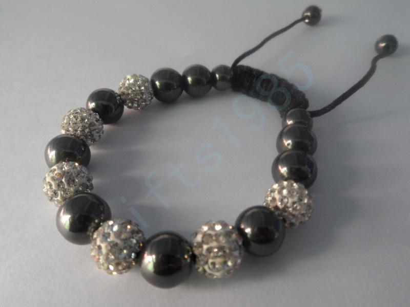 Zwart en wit, hoogwaardige klei het mozaïek kristal shambhala met magneet armband