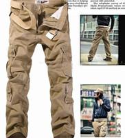 Wholesale Green Pants Men Christmas - HOT CASUAL MILITARY ARMY CARGO CAMO COMBAT WORK PANTS TROUSERS Casual Cargo Pants Size 28-38 Khaki