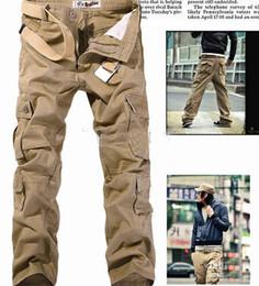 Wholesale Grey Camo Pants - HOT CASUAL MILITARY ARMY CARGO CAMO COMBAT WORK PANTS TROUSERS Casual Cargo Pants Size 28-38 Khaki