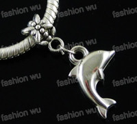 Wholesale Big Hole Beads Silver - CCB Lovely Dolphin Charm Big Hole Beads Hot sell 150pcs lot Fit European Bracelets Jewelry DIY