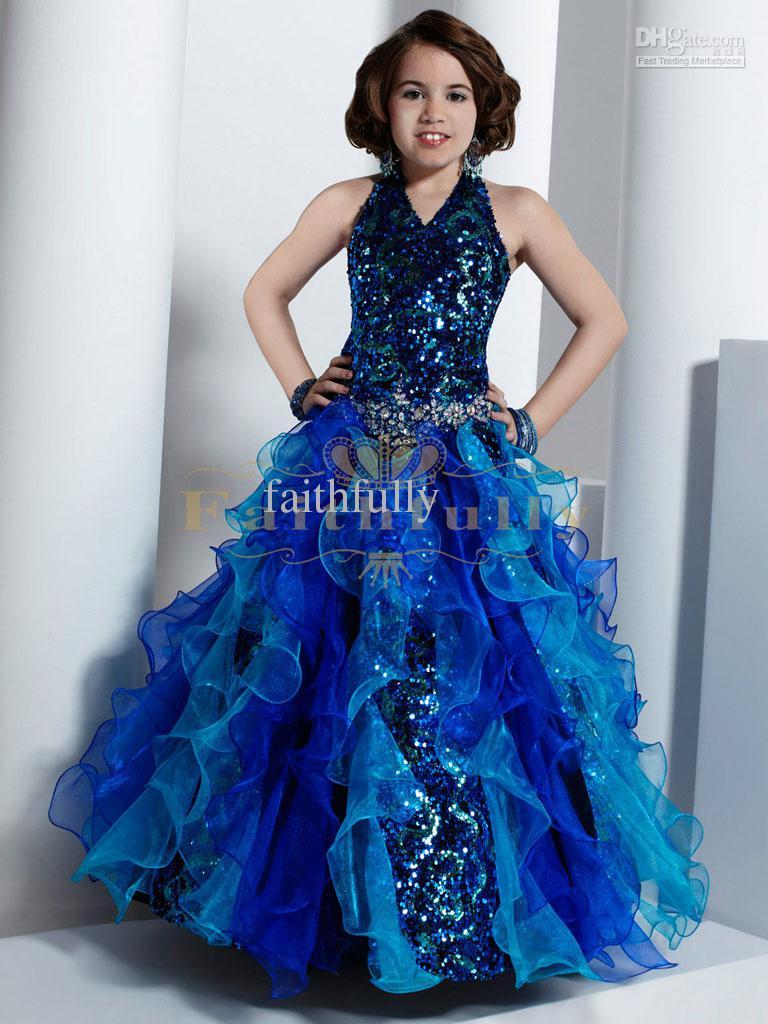 Blue Flower Girl Dresses 2017 Halter Ruffles Skirt Sequins Bodice ...