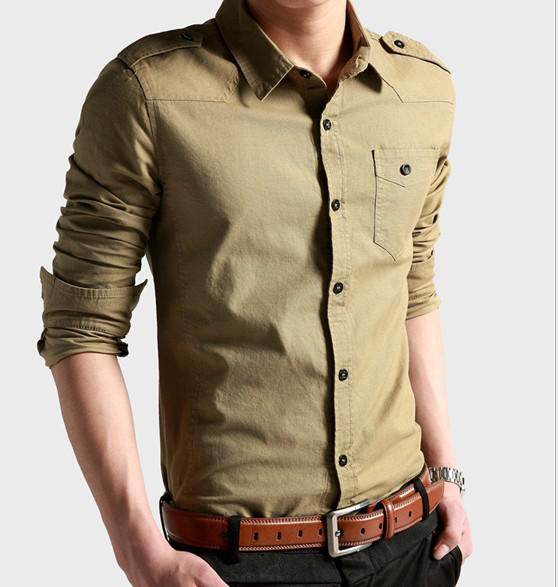 dba2e23d74f7 2019 2012 Monde Men s Shirts Men Casual Slim Long Sleeve 100% Shirt Cotton  Retro Style Militaty Fashion From Dynastyinternational