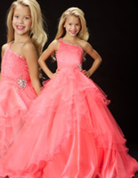 Wholesale One Shoulder Watermelon Dress - 2015 Shinning beads Girls Pageant Gowns one shoulder watermelon Girl's Pageant dresses Sweep Train Cheap Girl's Princess Organza FE-200