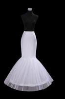 camiseta sirena de crinolina al por mayor-¡¡Gran descuento!! Enagua blanca de la sirena del tamaño general Enagua nupcial Accesorios Accesorios nupciales de la crinolina delgada Underskirt para casarse