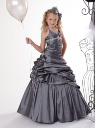 Wholesale Halter Ball Wedding Dresses - 2015 Free Shipping Girl's Princess Gowns Free Frozen Gift crystal beaded halter ruffle cheap dark gray flower Girls Pageant Dresses FE202