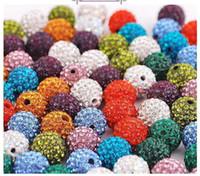 12 mm elmas taklidi top boncuklar toptan satış-En kaliteli 12 MM shamballa Kristal DIY Kil Spacer Boncuk Açacağı Rhinestone Disko Topları Boncuk 100 adet IÇIN