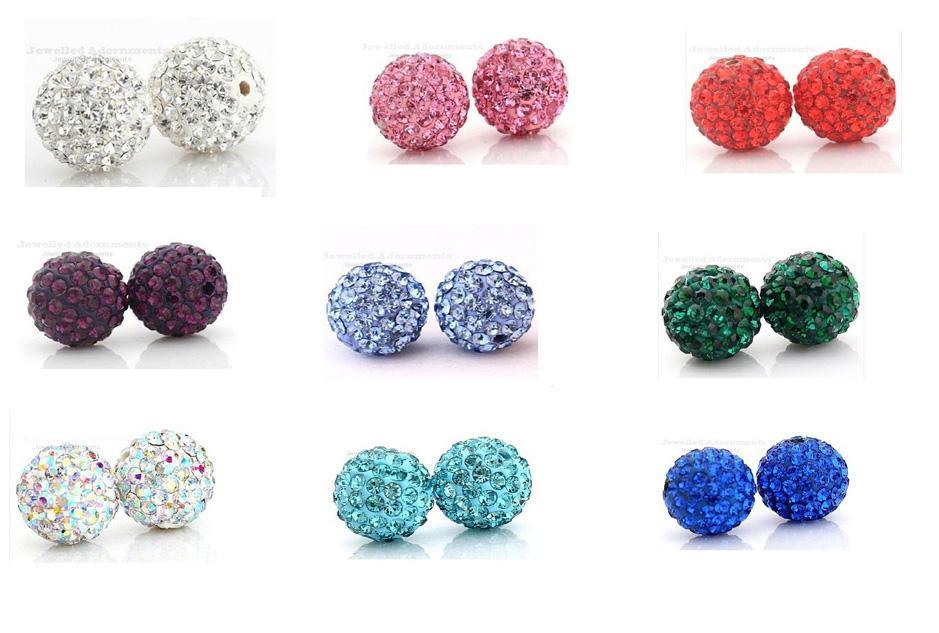 De calidad superior 12 MM shamballa Crystal DIY arcilla espaciador perlas para pave rhinestone bolas de discoteca granos 100 unid