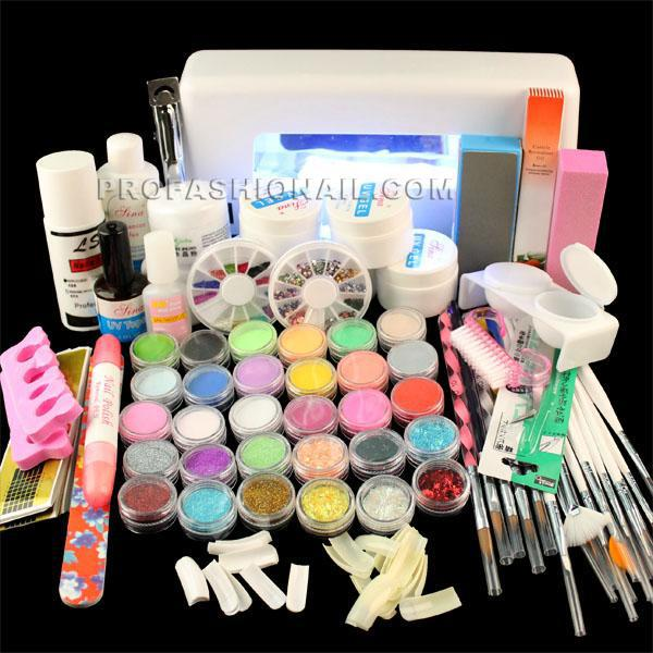 Full Set Acrylic Powder Uv Gel Kit Brush Pen Uv Lamp Nail Art Diy ...