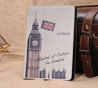 Wholesale Ipad Mini Cases Paris - PU Leatether Cover for iPad Mini London Paris Famous Structure Pattern Folio Case by china-post