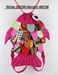 Wholesale Colorfull handmade Fish Backpacks Shoulder Bags School Baby Crochet backpack size CM