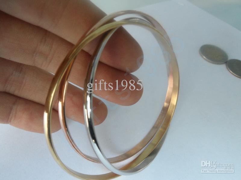 Bra klassiska pop-centurier, rostfritt stål glansiga trefärgade armband