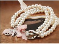 Wholesale Pearl Bracelet Peace Sign - 20% off!pink bow diamond peace sign pearl bracelet