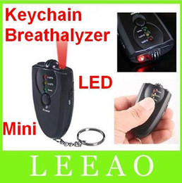 Wholesale Key Chain Alcohol - Hot sale MIni Keychain accurate breath alcohol tester breathalyzer flashlight H37 black colored LED
