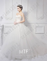 Wholesale Dresse Bride - 2016 Newest Luxury bride dress Sweetheart Swarovski crystals Applique lace cathedral wedding dresse