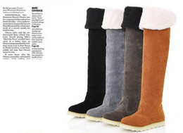Wholesale Christmas High Heels Boots - Women's Shoes Over The Knee Boots,Suede Flat Boots 63cm long boots US5-8 Christmas Gifts