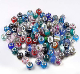 Wholesale Jewelry Findings For Bracelets - 100PCS Mix DIY Lampword Murano European Glass Bead For Pandora Fit Charm Bracelet Necklace Jewelry Finding Free [BD136*100]