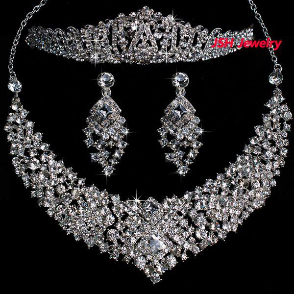 Bridal Wedding Jewelry Set Costume Rhinestone Tiara Necklace Earring Sets
