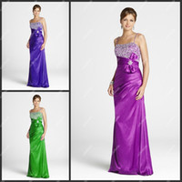 Wholesale Debs Dresses White - Cheap Spaghetti Strap Beaded Elastic Satin Purple Young Girls Evening Dress Debs Prom Dress