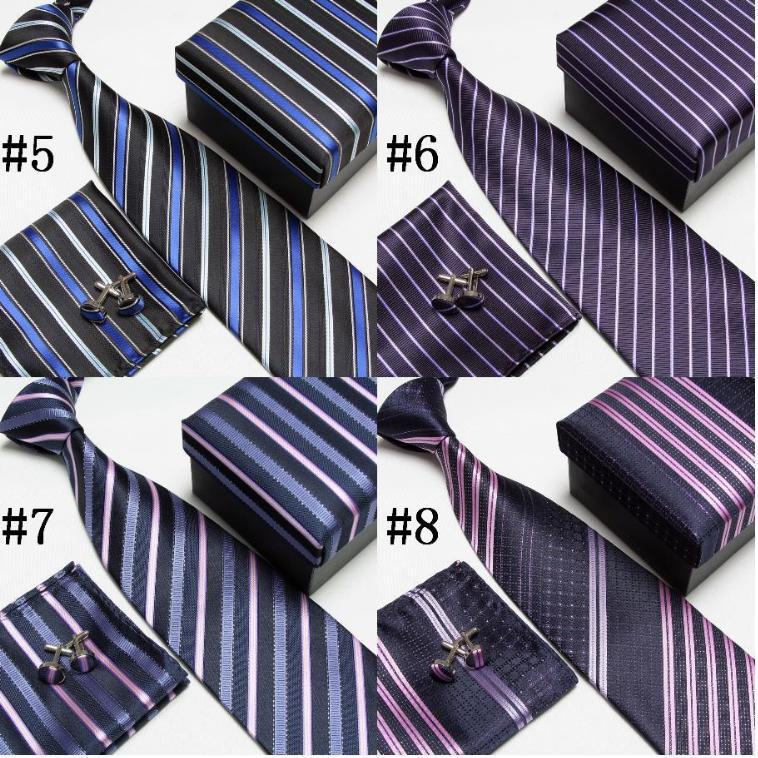 neck tie set necktie cufflinks men's ties polyester ascot plaid hankies striped tower Pocket towel