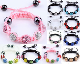 Wholesale Crystal Shamballa Bracelet Wholesale - shamballa kids high quality CZ crystal disco ball Children 20pcs bracelets