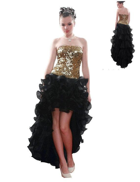 2017 Gold Shiny Sequins Bodice Black High Low Ruffle Organza Prom ...