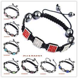 Wholesale Macrame Bracelet Pave Beads - New style Mixed Color Macrame Pave Disco Square Cyratal Beads charm Bracelet 20pcs