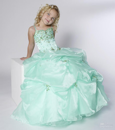 Wholesale Coloured Flower Girl Dresses - New Arrival Beautiful Sage Colour Rhinestone Beading Lovely Flower Girl Dresses FLG085